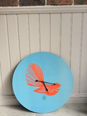 Large Funky Wall Clock from Pomp and Ceremony. Blue and Orange. Good Condition