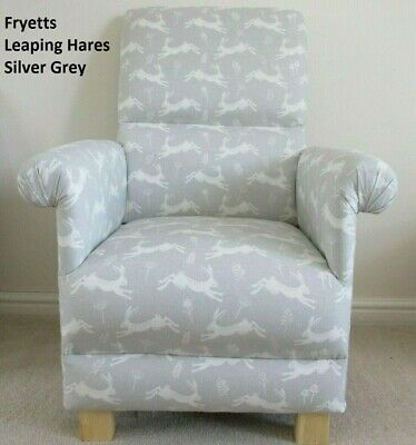 Fryetts Silver Grey Leaping Hares Fabric Adult Chair Armchair Nursery Accent New