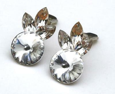 Vintage 80s Wendy Gell Cut Crystal Earrings Clip On Stunning Retro