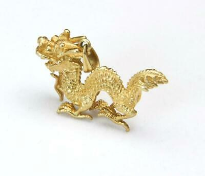 14kt Yellow Gold Lucky Dragon 3D Chinese Pendant Charm Intricate Design 6.9g
