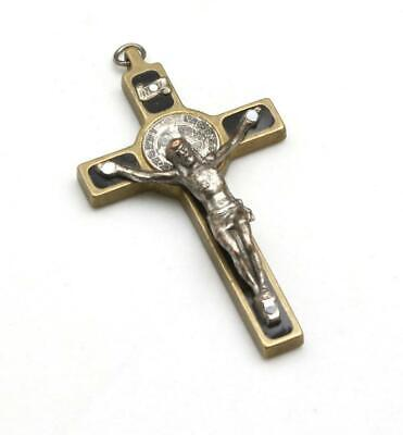 Vintage St Saint Benedict Metal Crucifix Catholic Jesus Cross Pendant 2""