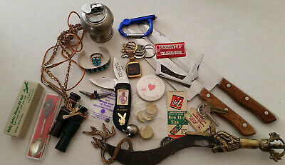 Vintage Junk Drawer Native Amer Mens Jewelry PLAYBOY Knife Keychain Weems Calls
