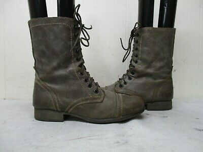 be4b0e24e58 STEVE MADDEN TROOPA Stone Brown Leather Combat Boots Women Size 8.5 ...
