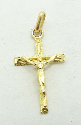 Very Nice 14K Yellow Gold Religious Cross Crucifix Necklace Pendant B4094
