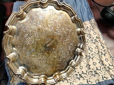 English Silver Chippendale Chased Medium Sz Sheffield Silver Tray Holiday Sale