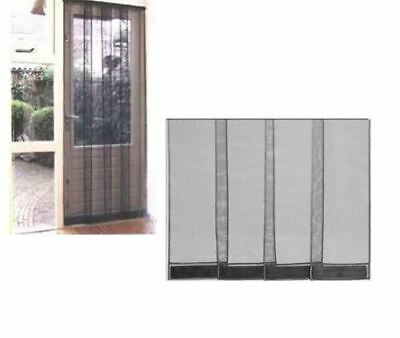 4 Piece Black Patio Door Insect Fly Bee Screen Draught Kitchen Bug Curtain