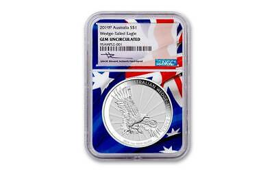 2019-P Australia Wedged-Tailed Eagle NGC Gem UNC. 1 oz Silver Flag Core Coin