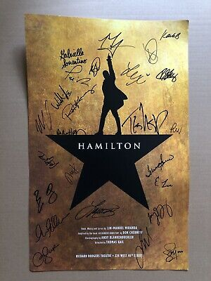 """22""""x14"""" Hamilton An American Musical Poster Signed By Broadway Cast, Sep 2018"""