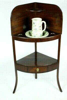 Vintage Mahogany Corner Washstand and Wash Set [PL4998]