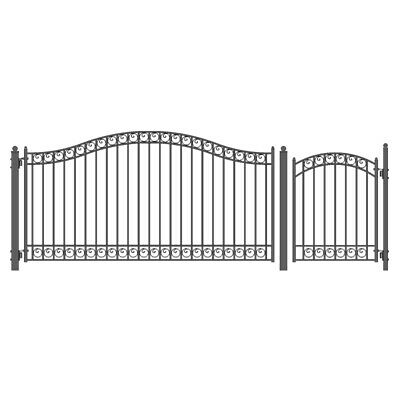 ALEKO Dublin Style Iron Wrought Single Driveway Gate 14' And Pedestrian Gate