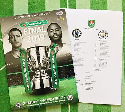 Reduced Carabao Cup Final 2019 Chelsea V Man City Plus Team Sheet.