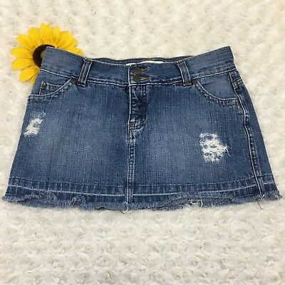 Mossimo Supply Co Womens Size 5 Lowest Rise Pleated Denim Blue Jean Mini Skirt Clothing, Shoes & Accessories
