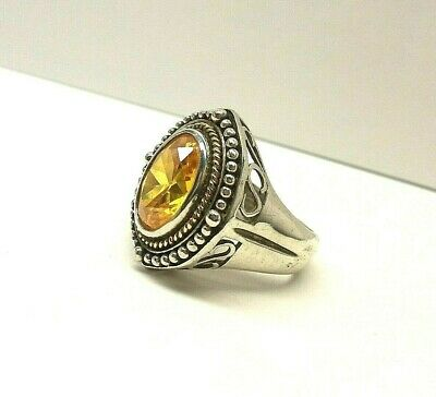 QCD 14K YELLOW GOLD & 925 STERLING SILVER CITRINE COCKTAIL RING, SIZE: 8, 5 ct