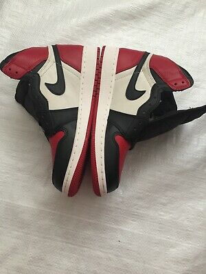 newest collection d27a2 38c20 Nike Air Jordan 1 I Retro High OG Bred Toe Red Black White Sz 7Y GS