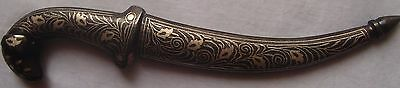Vintage Indo Persian Mughal Damascus Silver Inlay Work Dagger/knife Goat Face