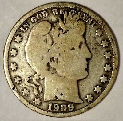 1909-P 50C Barber Half Dollar, 18hah0714 90% Silver 50 Cents Shipping