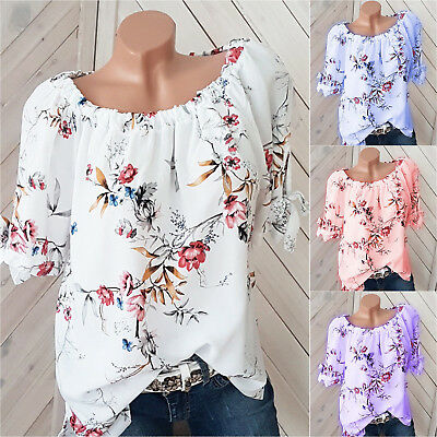 Plus Size Womens Floral Off Shoulder Blouse Ladies Casual Loose Tunic Tops 8-22