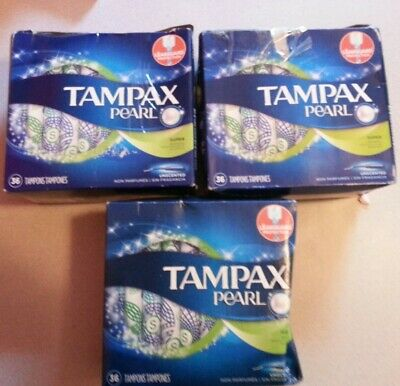 3 Tampax Pearl Tampons, Super Unscented - 36 Count ea Damaged Box