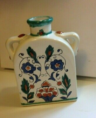 """Vintage Italian Vase Hand Painted Floral Ceramic White Blue Green 8"""" x 5"""""""