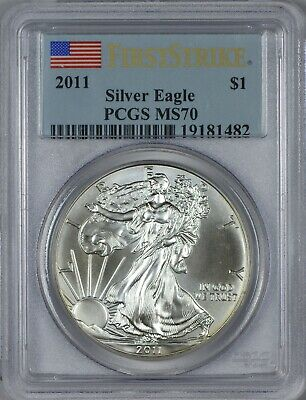 2011 American Silver Eagle PCGS MS70 - First Strike - Flag Label