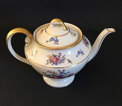 """Tirschenreuth Bavaria """"The Queens Rose"""" teapot-- delicate flowers with gold trim"""