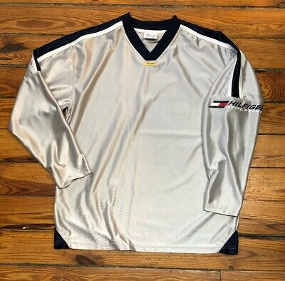 5a861c9b1 Mens 90s Vintage Tommy Hilfiger Athletics Silver Satin Jersey Style Shirt M