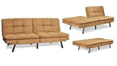 SPLIT LOVESEAT SLEEPER Sofa Bed Suede Convertible Couch ...