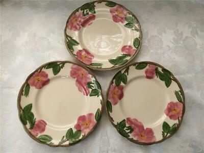 Franciscan Desert Rose, 3 Bread & Butter dishes pink flowers and green leaves