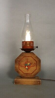 Early California 1930's Monterey Period Table Lamp With Hurricane  (11724)