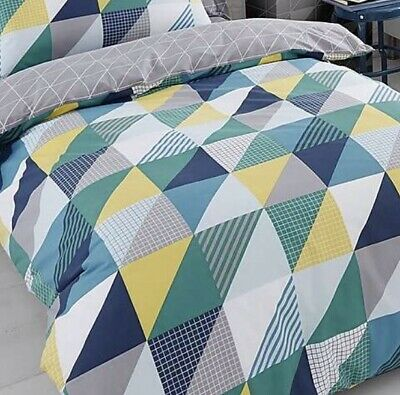 Clearance - Geo Green Reversible Double Bed Duvet Cover Set