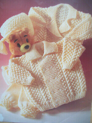 Baby boys double breasted CARDIGAN HAT KNITTING PATTERN DK 0 - 2 yrs jacket P836