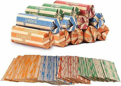 Coin Roll Wrappers 300 Count  Bundle of 75 Each, Quarters Nickels Dimes Pennies