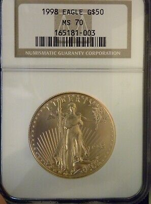 1998 $50 Gold American Eagle 1 oz coin graded MS70 NGC