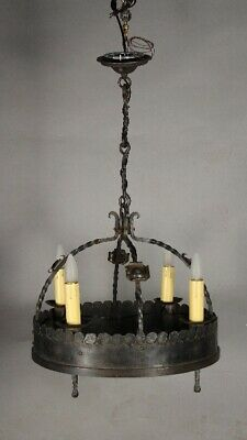 Wrought Iron Four Light Spanish Revival Tudor Chandelier 1920's (11727)