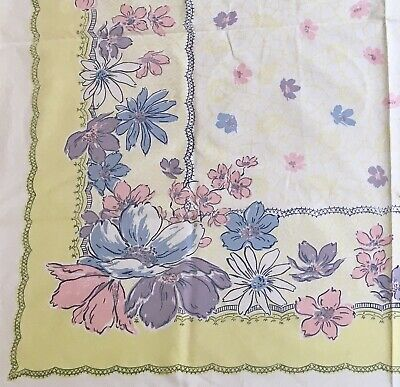 Vintage Simtex 1950's Printed Floral Easter Tablecloth - Cottage Shabby Chic
