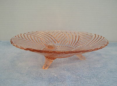 Vintage Pink Glass Footed Serving Dish Plate