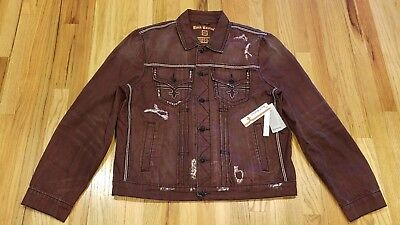 ROCK REVIVAL MENS Luciano Distressed Denim Jacket Burgundy