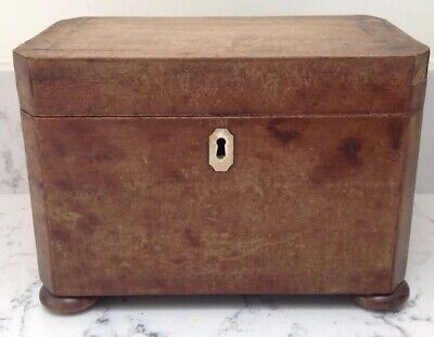 "Vintage Wooden TEA CADDY - Tin Lined - Good Hinges  8"" X 5"" X 4.5"""