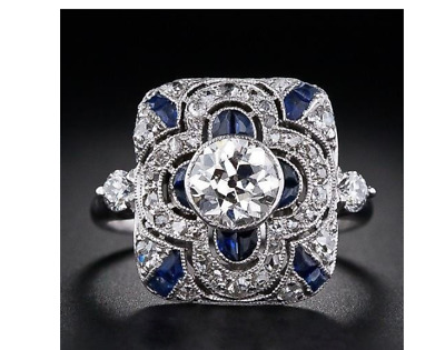 Antique Art Deco Large 925 Jewelry Sterling Silver Blue Sapphire Ring W3-243