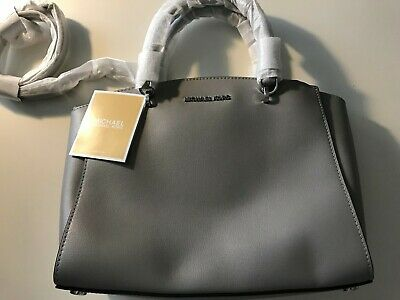 231d5c2a1365 NEW Michael Kors Ellis 35H7SE0S3L LG Leather Satchel Purse ASH GREY $428