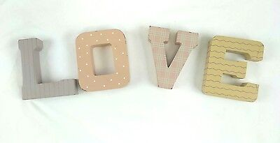 "Home Interiors ""LOVE"" Wood Letters Wall Decor Nursery Decor Pastel Colors Pink"