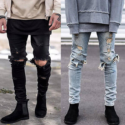 Fashion Men's Ripped Skinny Jeans Destroyed Frayed Distressed Denim Pants Zip