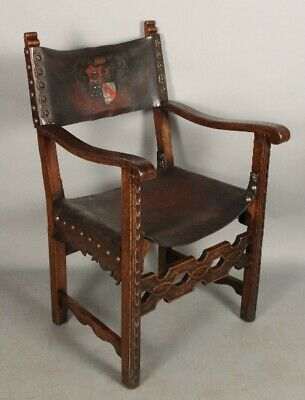 Antique 1920's Walnut and Leather Spanish Revival Tudor Chair (11731)