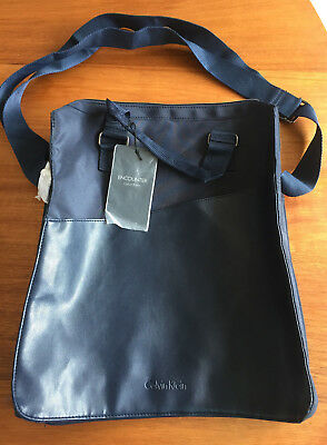 "CALVIN KLEIN Messenger ""Encounter"" Bag Navy Will Fit IPAD NEW"