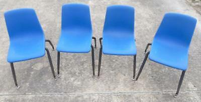 Vintage Set Of 4 Blue Plastic And Metal Children Toddler Chairs School Daycare