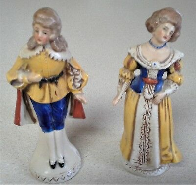"""Vintage Germany 20255 Set of 2 Colonial Victorian Man Woman Figurine 4 1/2"""" Tall"""