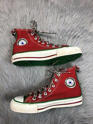 Vintage Made In USA Red Green Christmas Bell Converse High Tops 2.5