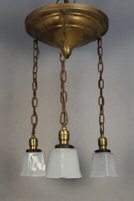 Antique Arts And Crafts Chandelier W/ Three Pendants & Glass Shades 1910 (11736)