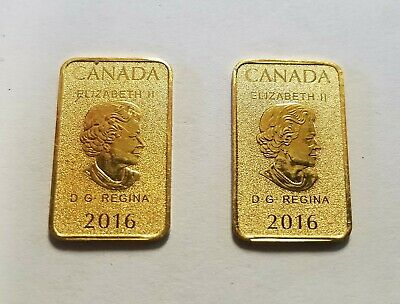 1/10 oz Canada 2016 Legal Tender $25 Gold Bar Royal Canadian Mint