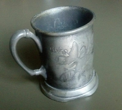 """Antique Engraved Metal Cup (Probably Pewter) with Name """"Clem"""", Butterfly, Floral"""